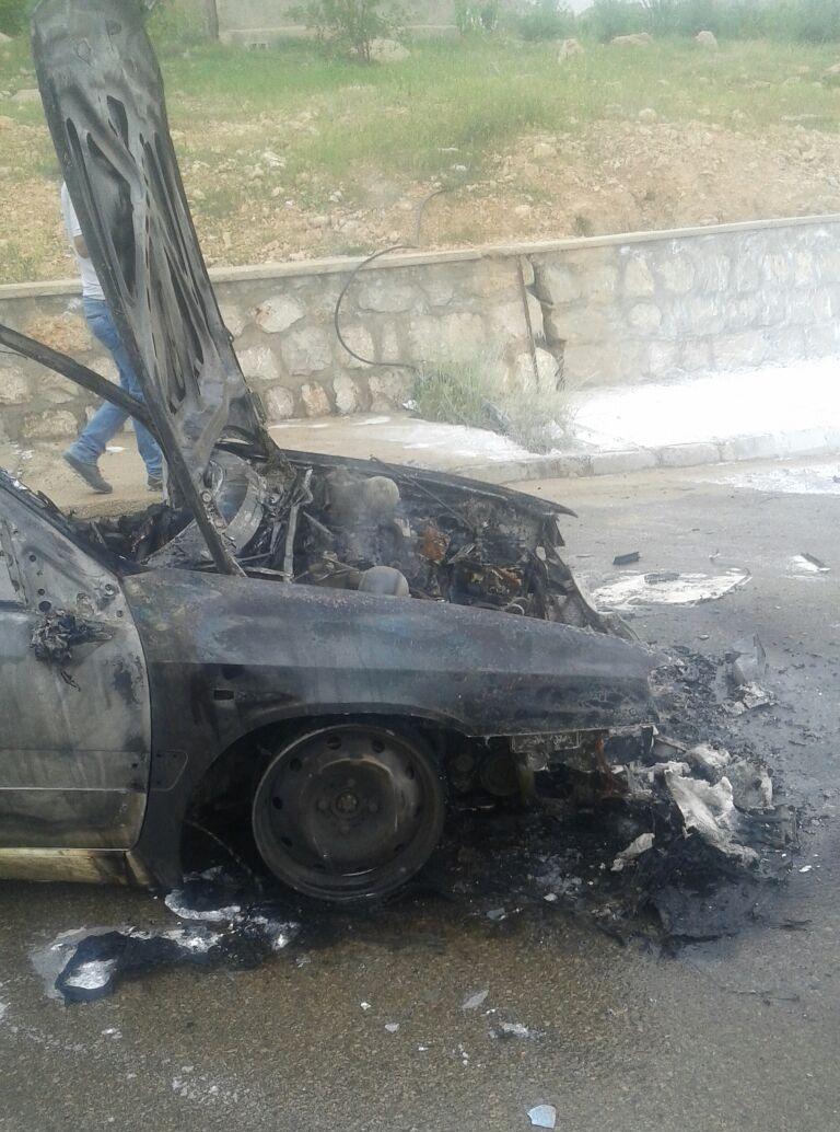 آتش گرفتن یک دستگاه خودرو در دانشگاه آزاد ایذه+تصاویر