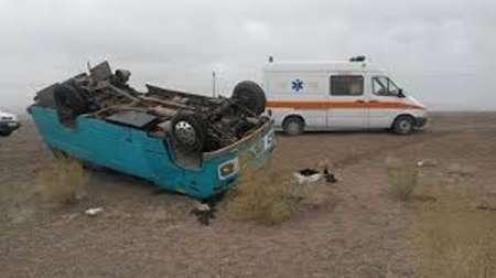 واژگونی مینیبوس در جاده باغملک_ایذه ۱۸ مصدوم برجای گذاشت