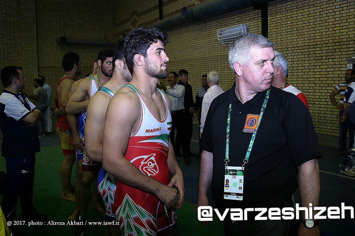 رامین طاهری در مراسم وزن کشی رقابتهای جام جهانی کشتی فرنگی
