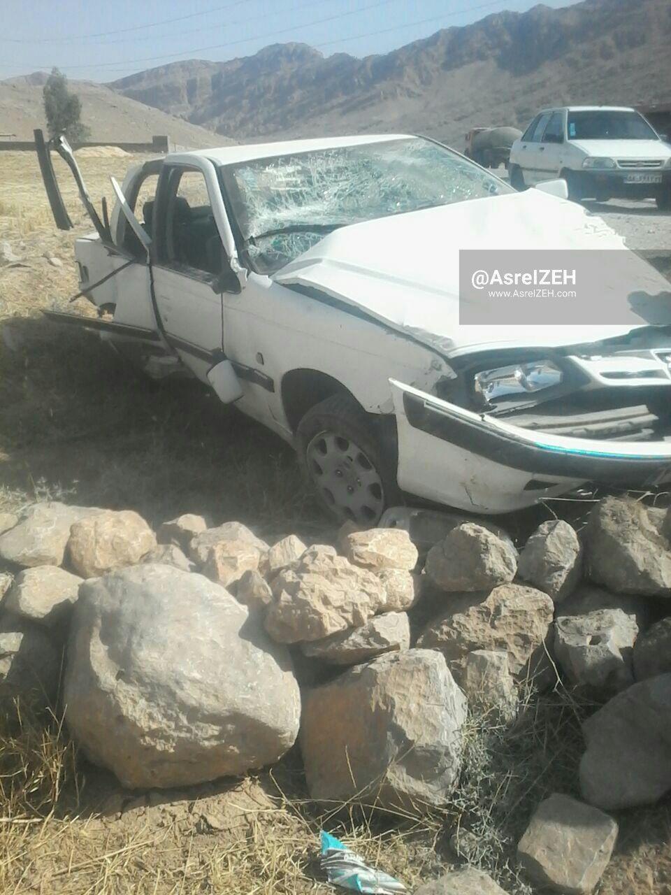 عکس/ واژگونی خودرو پژو پارس و مصدومیت ۳نفر در جاده ایذه_پیان