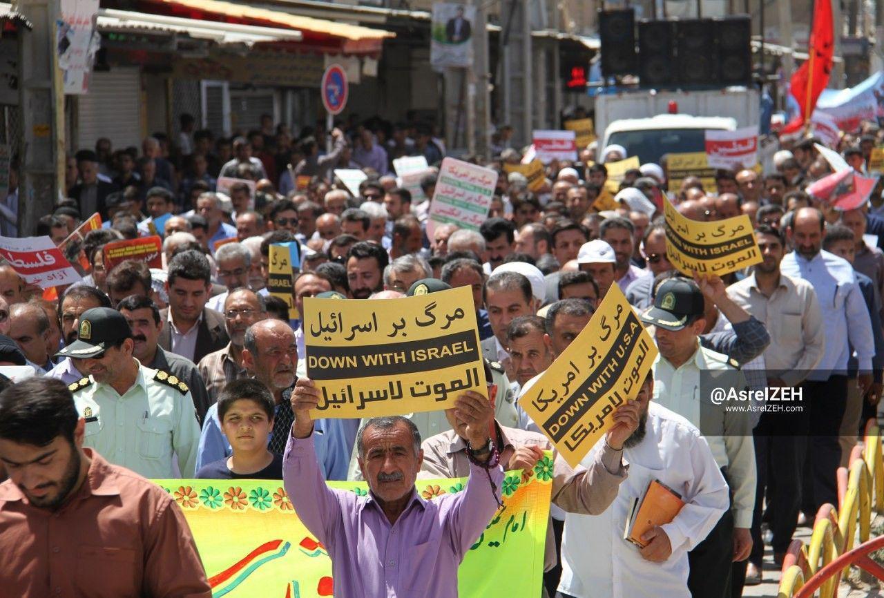 طنین «مرگ بر آمریکا» مردم روزهدار ایذه برای حمایت از قبله اول مسلمانان
