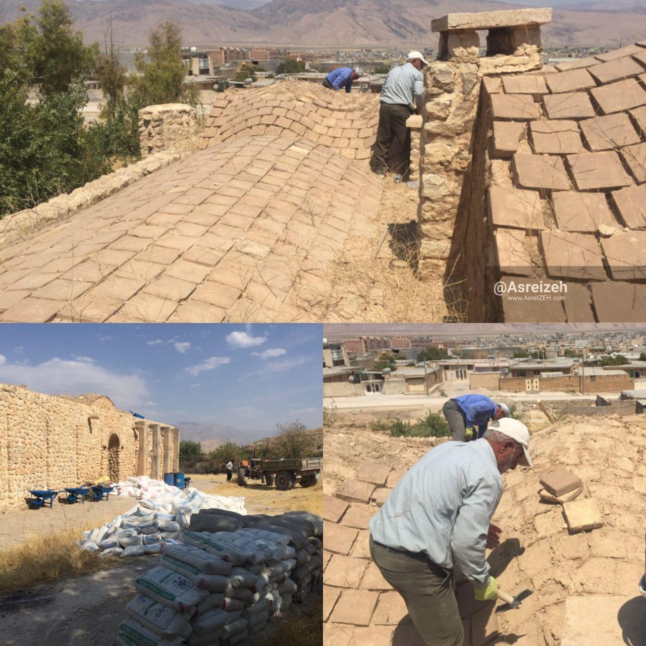 عکس/ آغاز مرمت و بازسازی تنها بنای دوره قاجار در ایذه