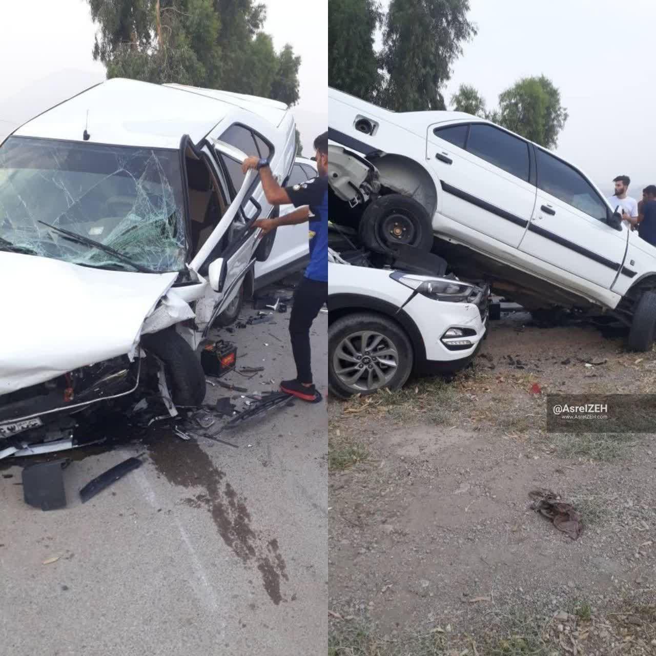 تصادف زنجیرهای در جاده کمربندی ایذه_اصفهان ۶مصدوم برجای گذاشت
