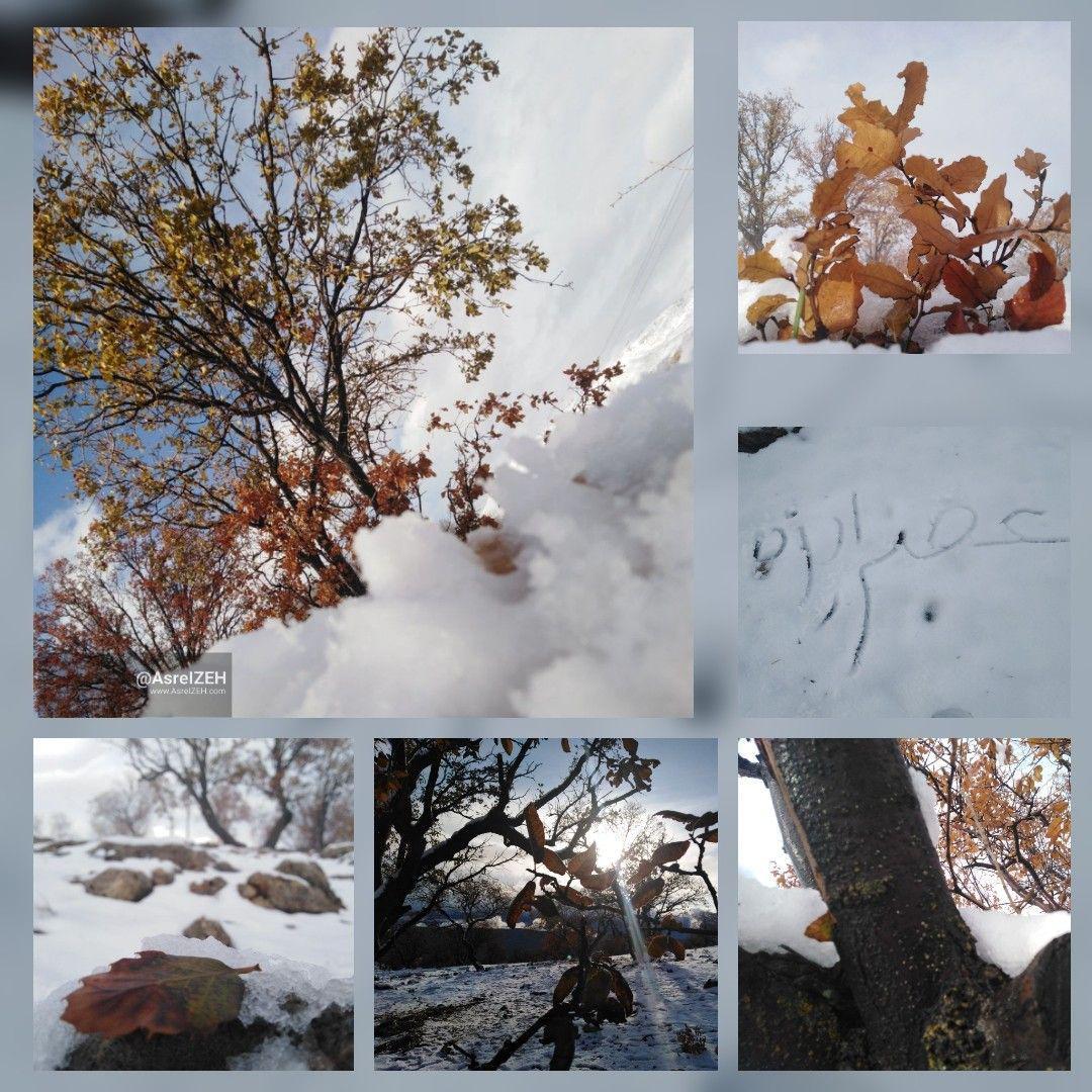 زیباییهای اولین برف پاییزی در روستای حاجیکمال دهدز